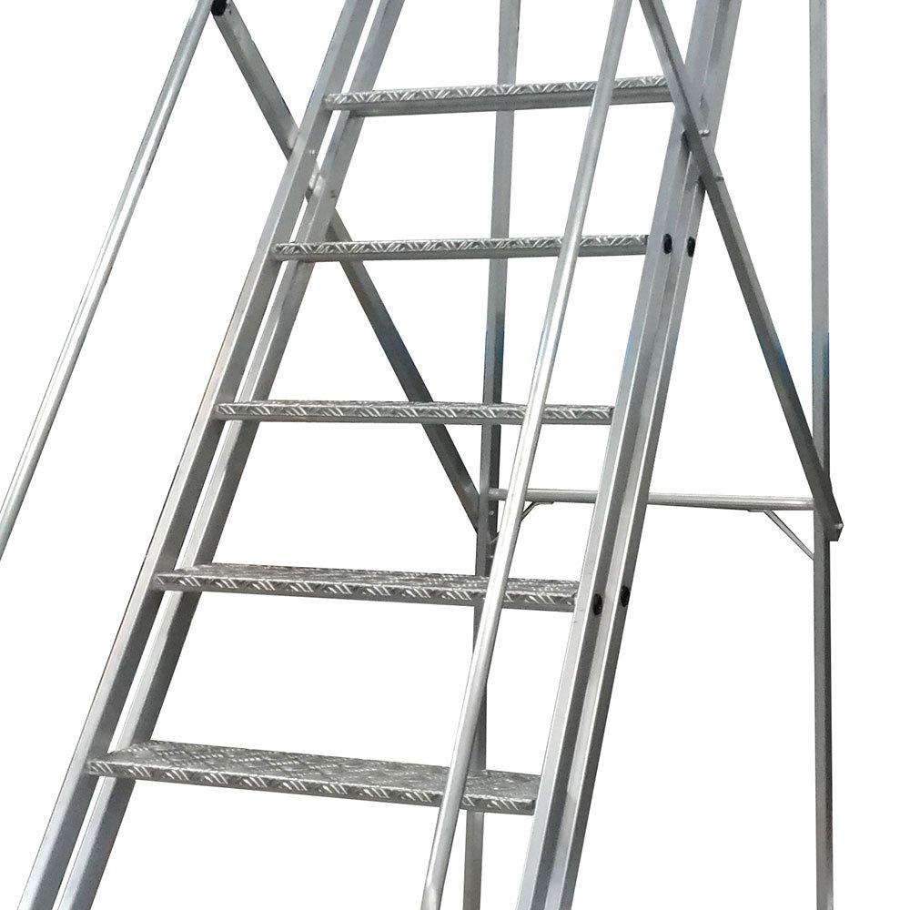 Escada Plataforma Trepadeira 2,50m 9 Degraus com 2 Rodas  - Imagem zoom
