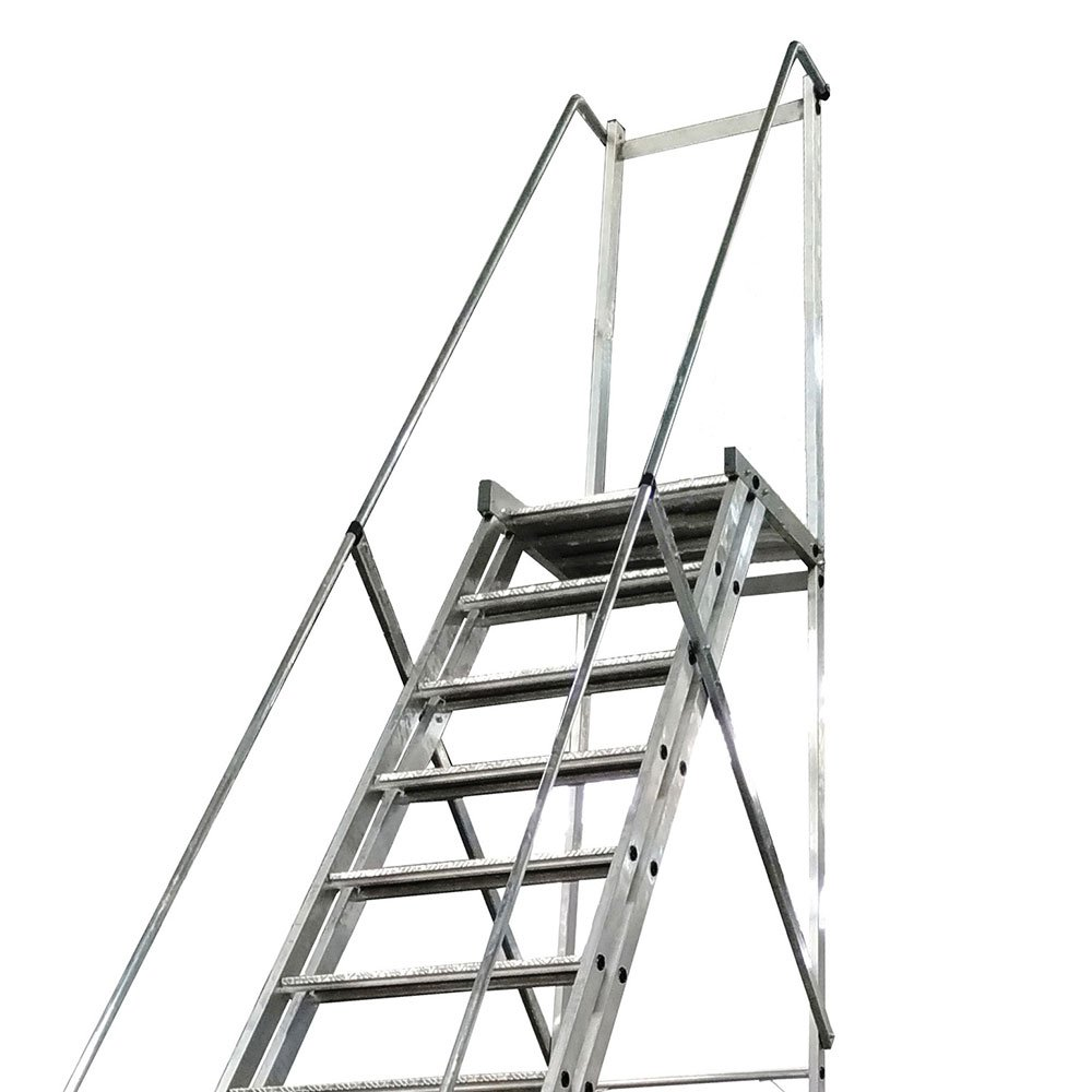Escada Plataforma Trepadeira 4,0m 15 Degraus com 2 Rodas  - Imagem zoom