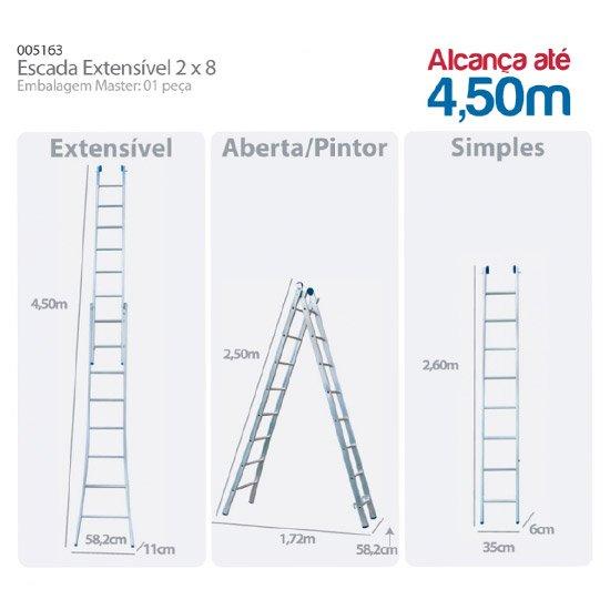 Escada Extensiva de Alumínio 2 x 8 com 16 Degraus - Imagem zoom