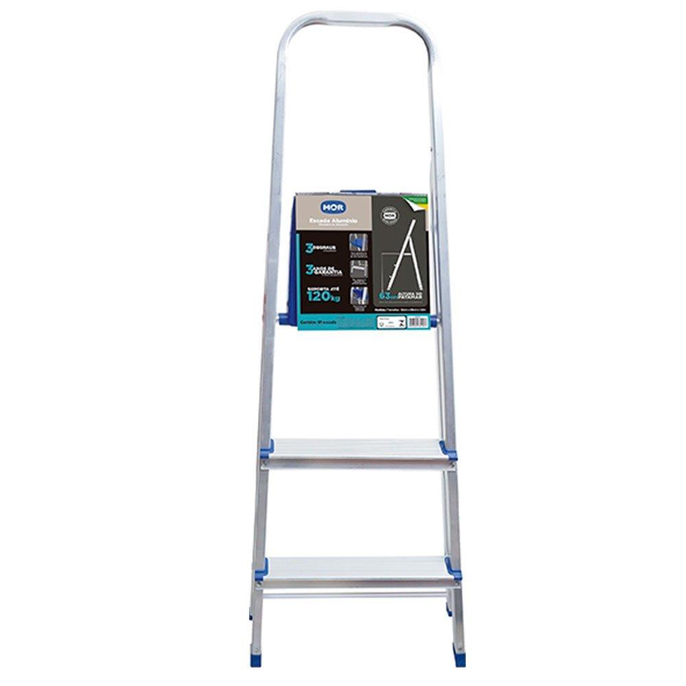 Escada de Alumínio com 3 Degraus para Uso Doméstico - Imagem zoom