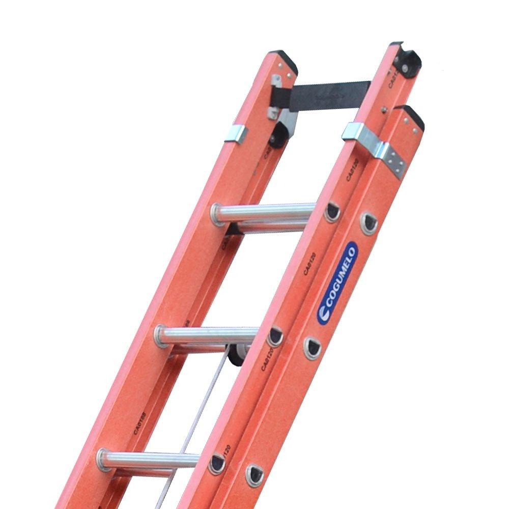 Escada Extensível Vazada Laranja 6 Metros 19 Degraus Tipo D - Imagem zoom