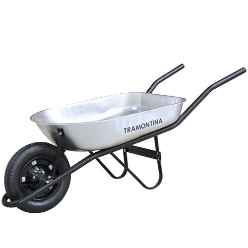 carrinho de mão 50 litros com caçamba metálica rasa redonda