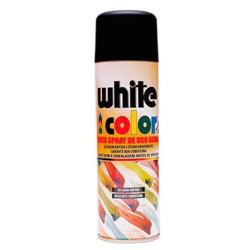 tinta spray white color preto fosco 340ml