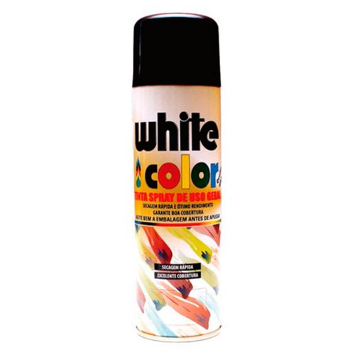 tinta spray white color preto brilhante 340ml
