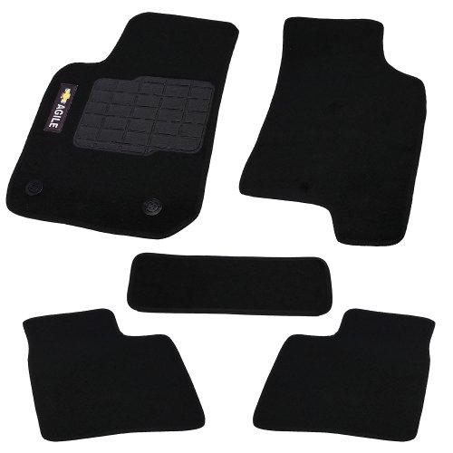 jogo de tapetes carpete agile universal preto com 5 peças