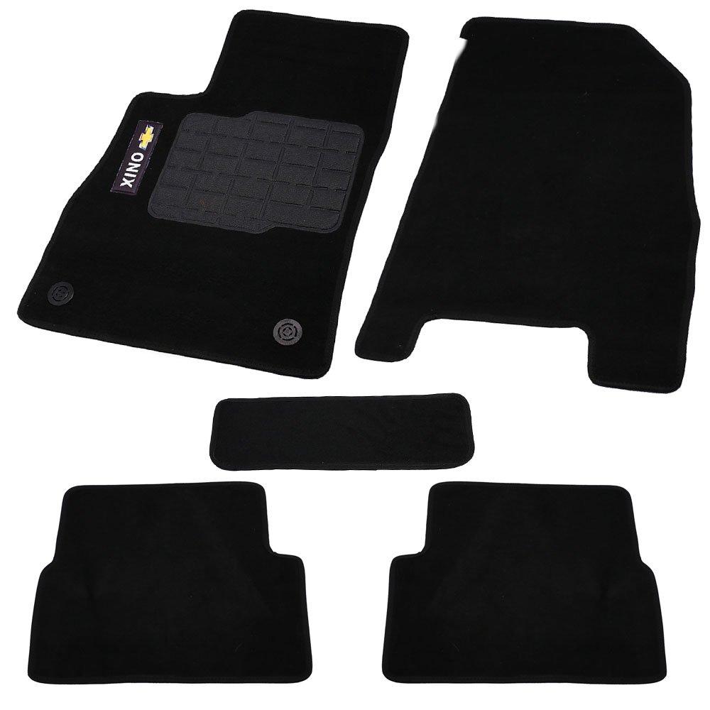 Jogo de Tapetes Carpete Onix Universal Preto com 5 Peças - Imagem zoom