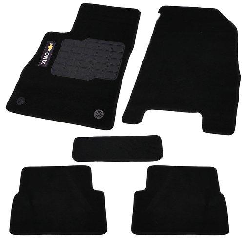 jogo de tapetes carpete onix universal preto com 5 peças