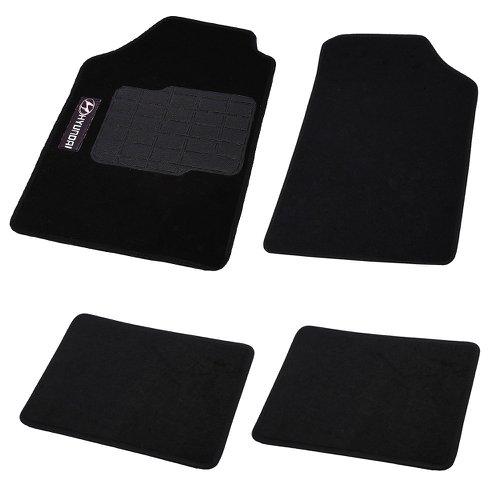 jogo de tapetes carpete hyundai universal preto com 4 peças