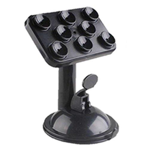 suporte preto para smartphone fixado por ventosas