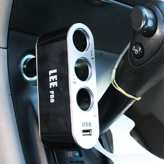 Plugue Automotivo com 3 saídas e USB/12V - Imagem zoom