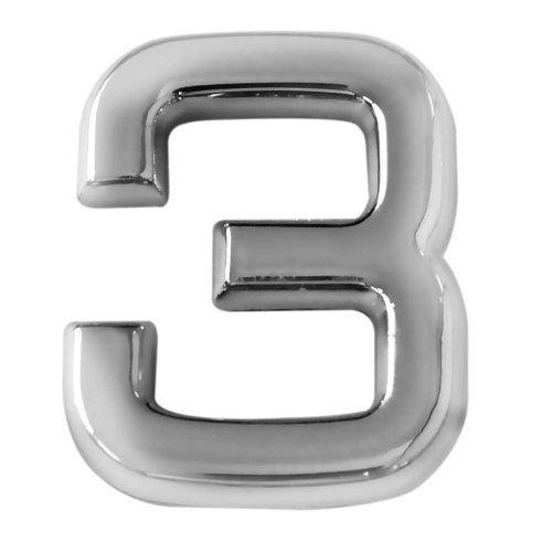 número 3 cromado em abs 39 mm