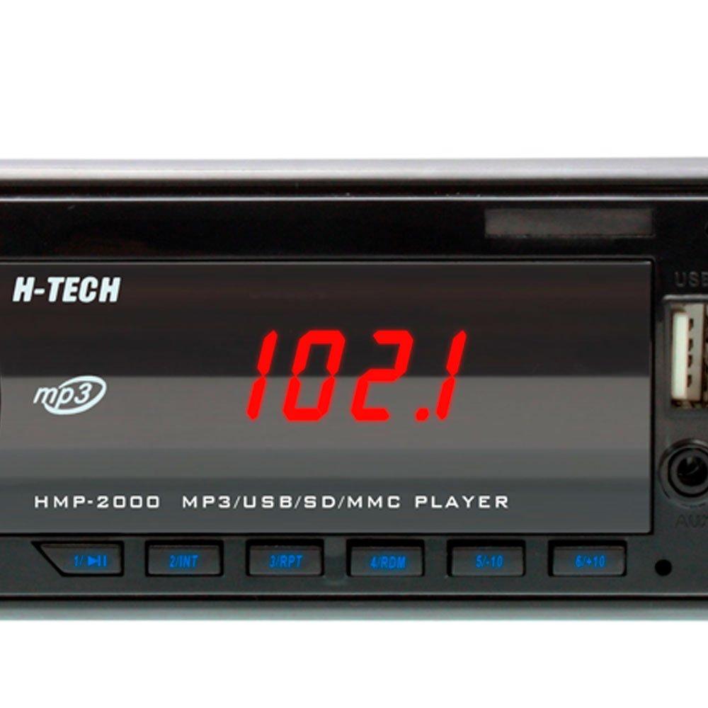 Som Automotivo MP3 Display LED com Botão Cromado e Leitor USB, SD Card e Auxiliar - Imagem zoom