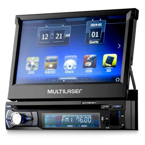dvd automotivo retrátil extreme 7 pol. com gps, bluetooth e tv digital