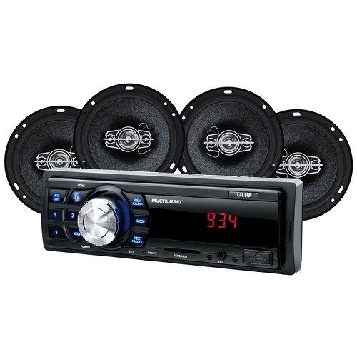 som automotivo mp3 one quadriaxial entrada usb e rádio fm com 4 alto falantes