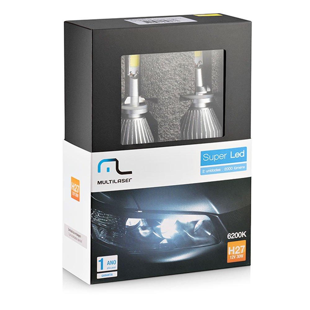 Par de Lâmpadas Super Led H27 12V 30W 6200K Automotiva - Imagem zoom