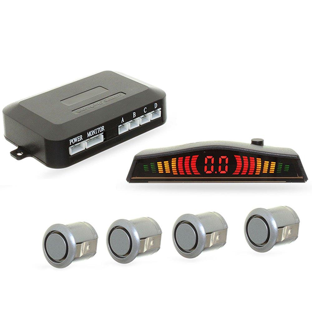 Sensor de Estacionamento 4 Pontos Prata com Display LED Colorido - Imagem zoom