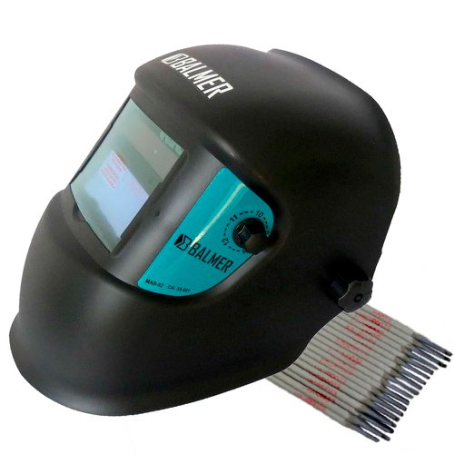 kit máscara automática de solda balmer mab92 + eletrodo titanium 6013 2,5mm 1kg