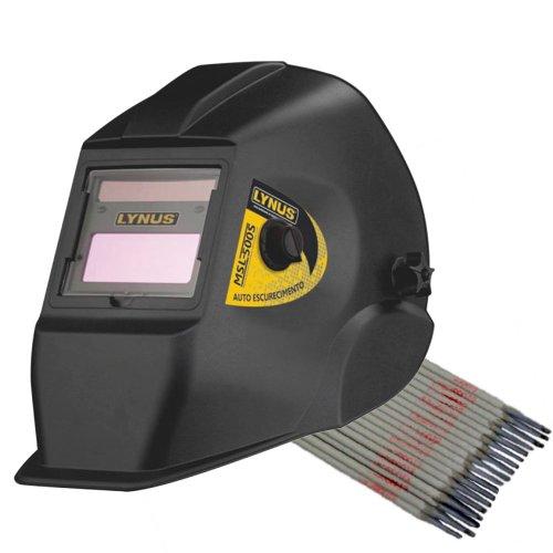 kit máscara de solda automática lynus msl500s com regulagem de 9 a 13 din + eletrodo titanium 6013
