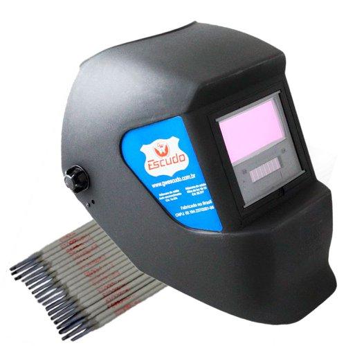 kit máscara de solda escurecimento automático gw escudo gw913e + eletrodo  6013 titanium 0ee17e400d