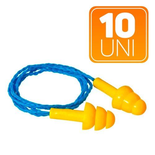 kit protetor auricular tipo plug em copolímero com cordão em algodão com 10 unidades