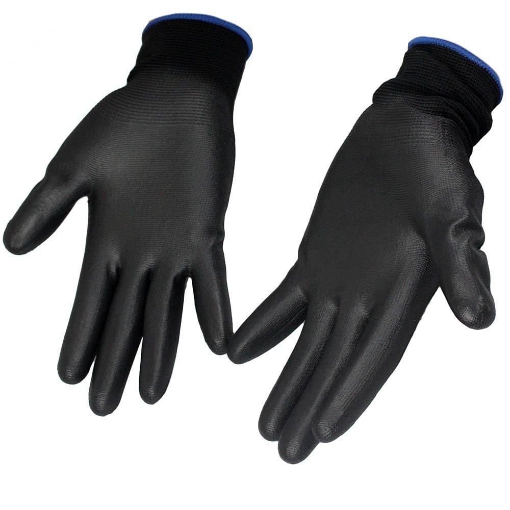 Kit 10 Luvas de Segurança PU Cor Preta Tamanho M  - Imagem zoom