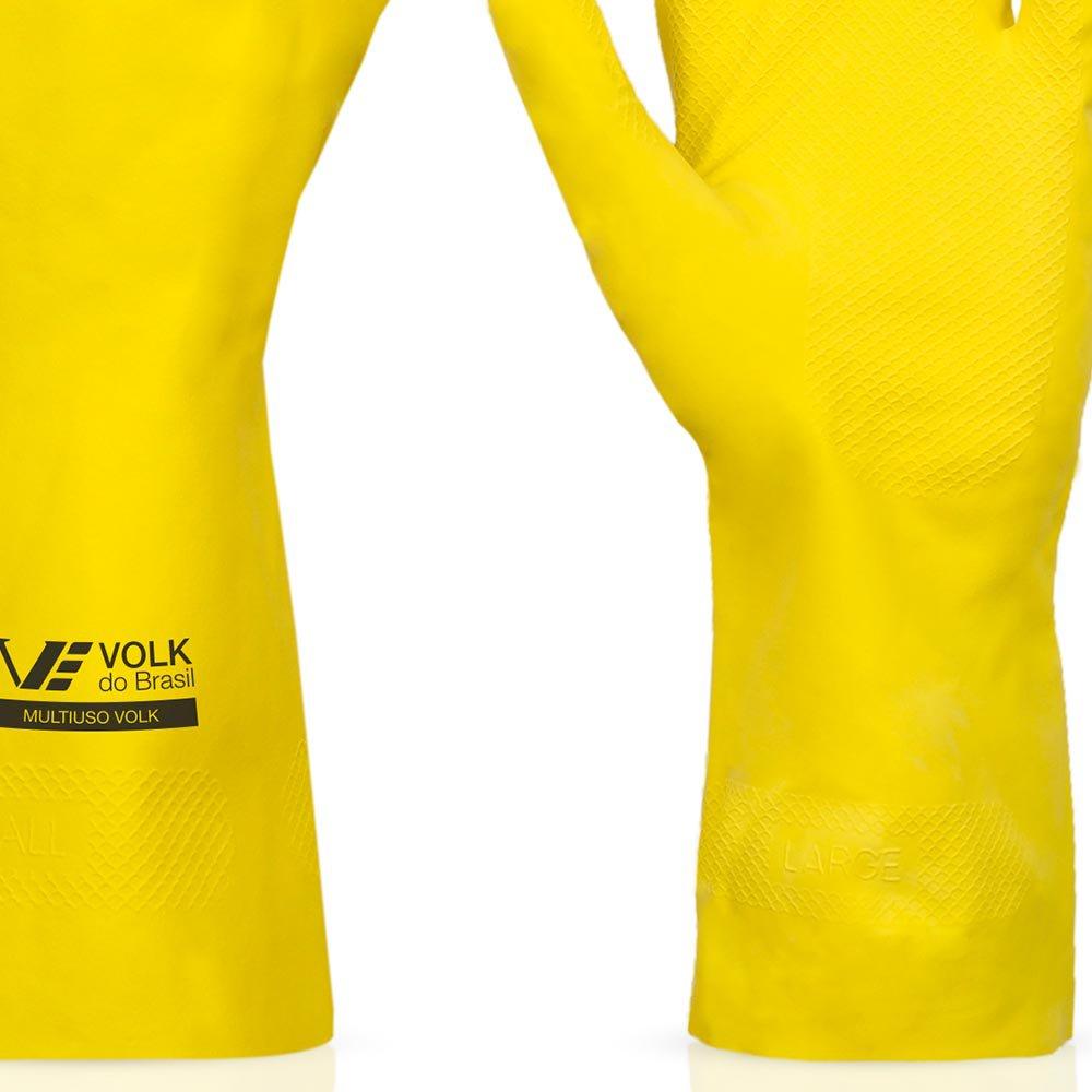 Luva Multiuso Látex Standard Amarelo com Forro - Pequena - Imagem zoom