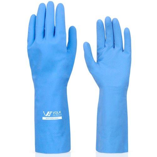 luva multiuso látex standard azul com forro - média