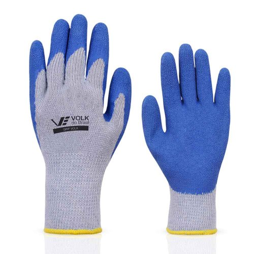 luva grip látex e suporte têxtil cinza/azul - média