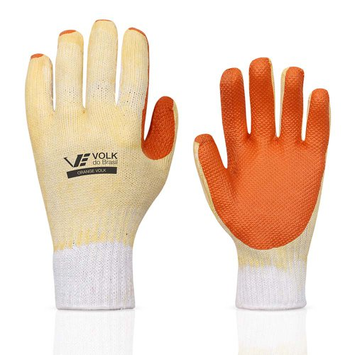 luva látex laranja e suporte textil - média