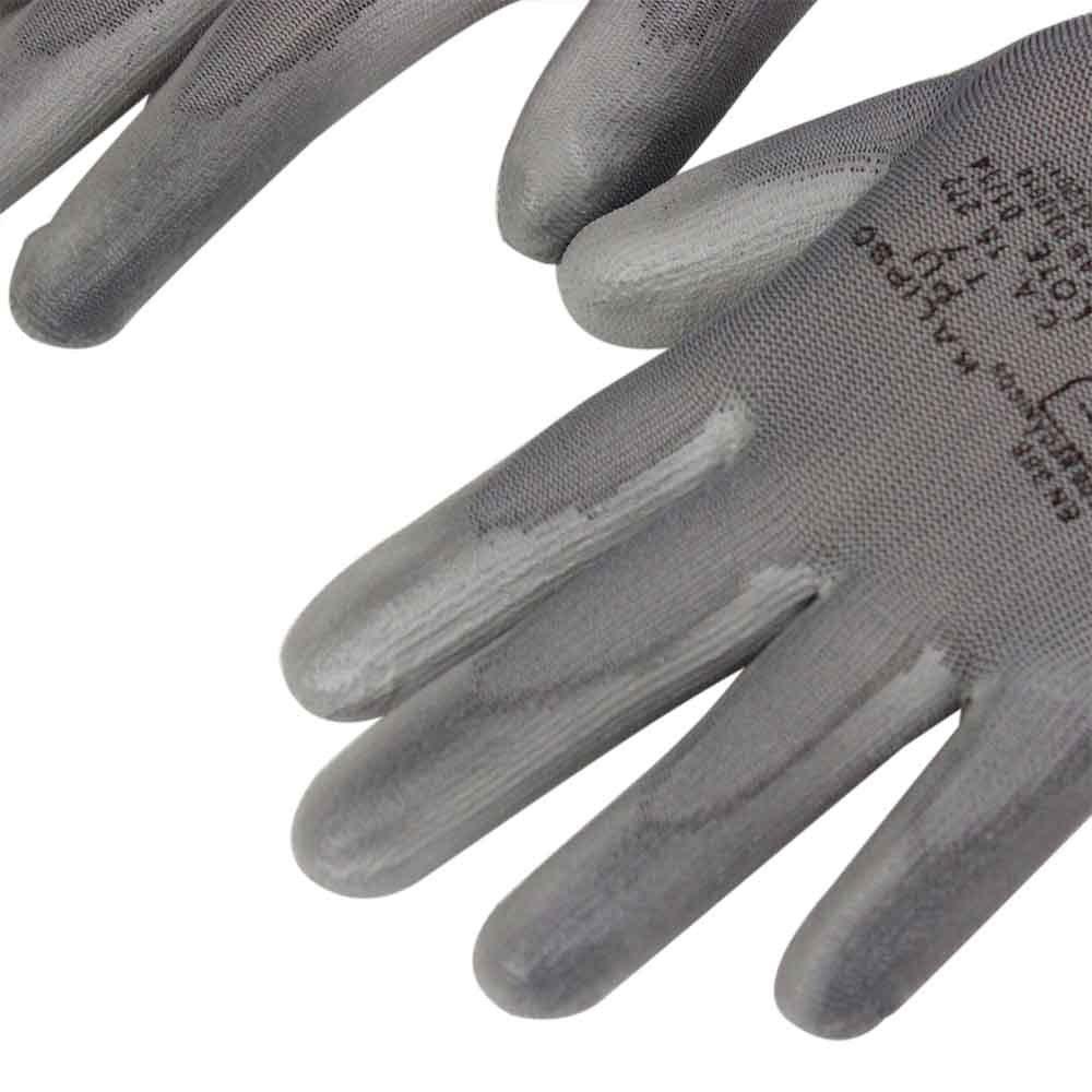 Luva de Segurança Tamanho M - PU Cinza - Imagem zoom