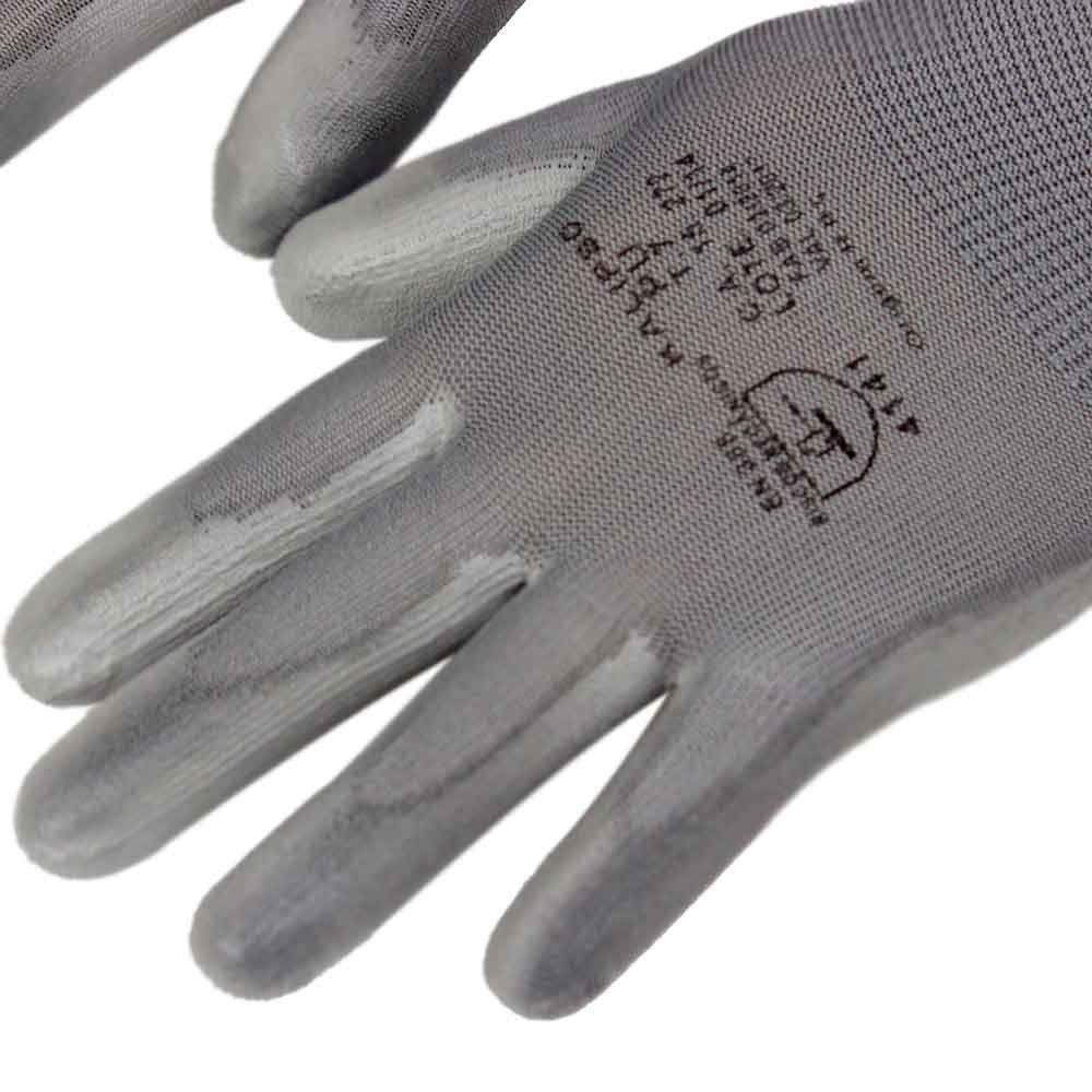 Luva de Segurança Tamanho G - PU Cinza - Imagem zoom