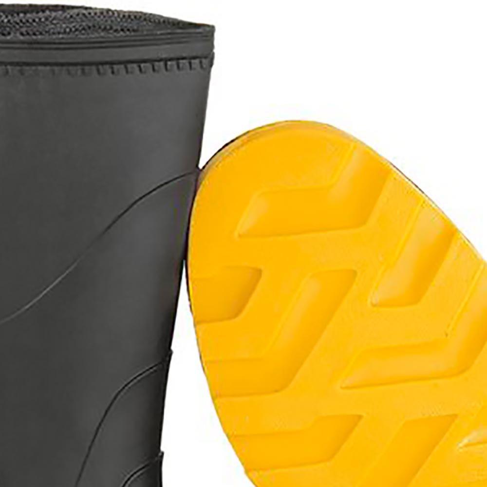 Bota em PVC Cano Médio sem Forro Preta/Amarelo N 39 - Imagem zoom