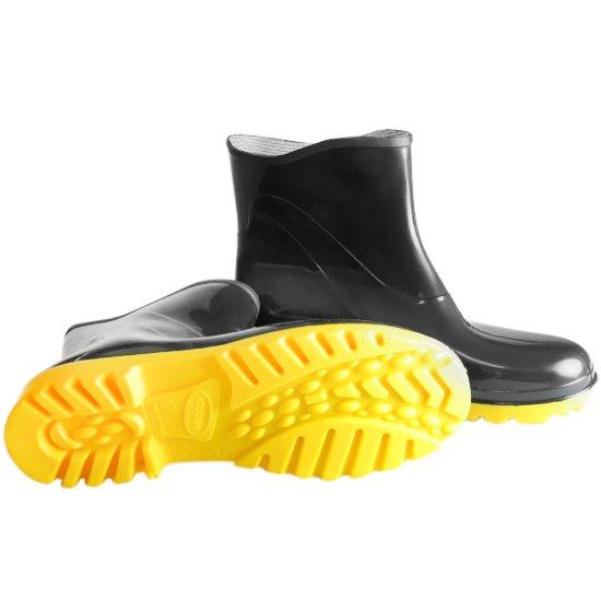 Bota Impermeável PVC Acqua Flex Cano Extra Curto Preto com Solado Amarelo N°42 - Imagem zoom