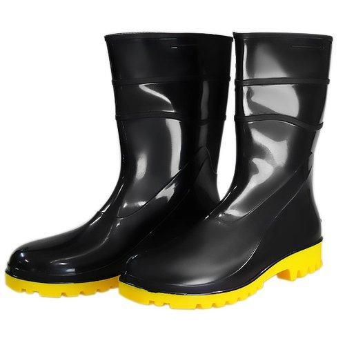 bota impermeável pvc acqua flex cano curto preto com solado amarelo n° 37