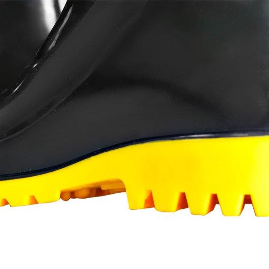 Bota Impermeável de PVC Acqua Flex Cano Curto Preto com Solado Amarelo N°41 - Imagem zoom