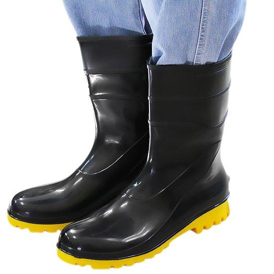 Bota Impermeável de PVC Acqua Flex Cano Curto Preto com Solado Amarelo N°41  - 93a463801b
