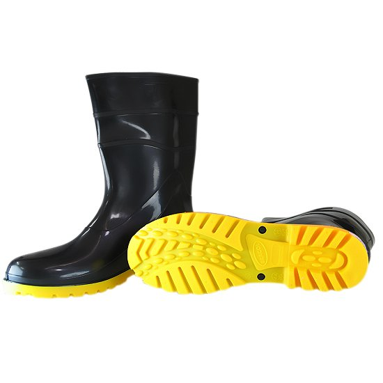 Bota Impermeável PVC Acqua Flex Cano Curto Preto com Solado Amarelo N° 42 - Imagem zoom