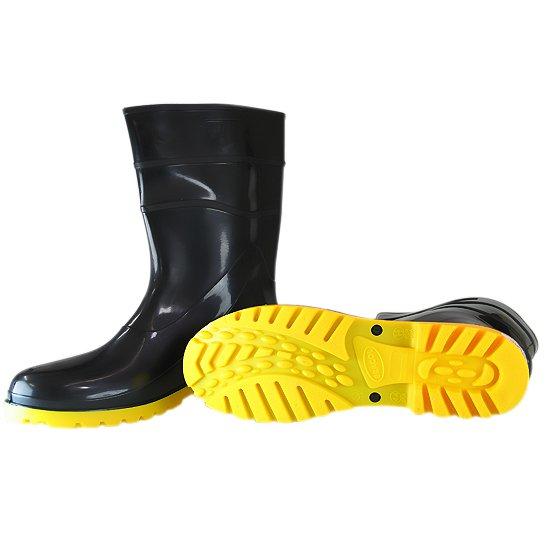 Bota Impermeável PVC Acqua Flex Cano Curto Preto com Solado Amarelo N° 43 - Imagem zoom