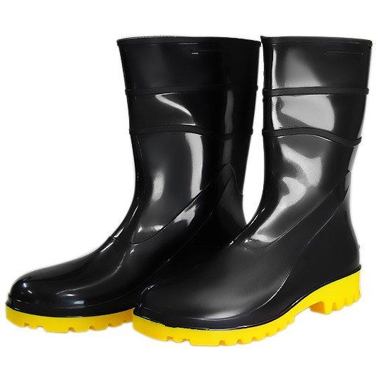 Bota Impermeável PVC Acqua Flex Cano Curto Preto com Solado Amarelo N° 35 -  Imagem 28c1ada275