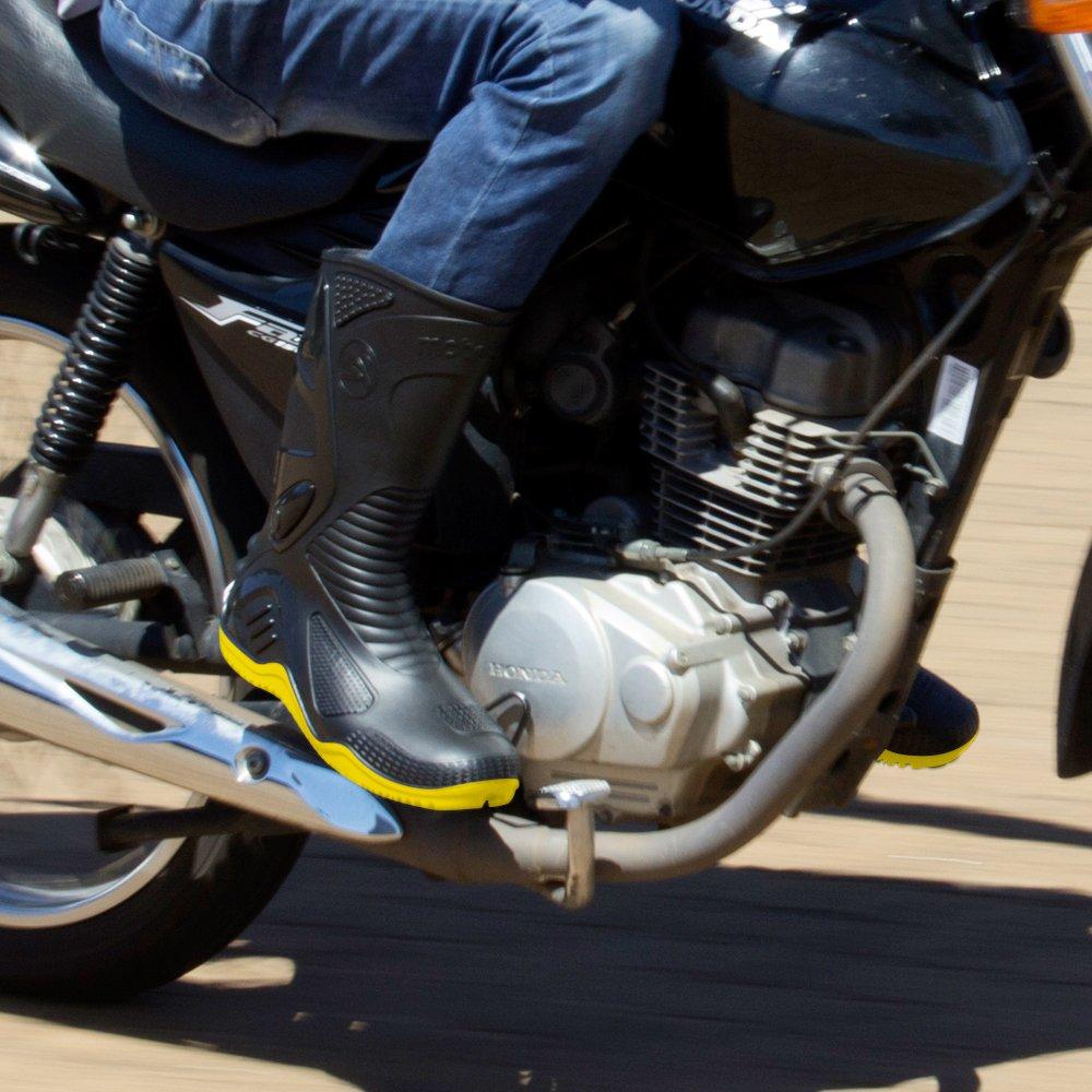 Bota de PVC N42 Preto com Sola Amarela para Motoqueiro - Imagem zoom