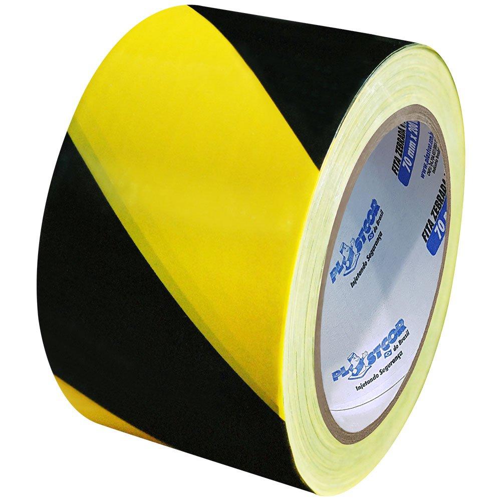 Fita Zebrada de Sinalização Preta e Amarelo 200 Metros - Imagem zoom