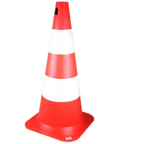 cone sinalizador branco e laranja com 750 mm de altura