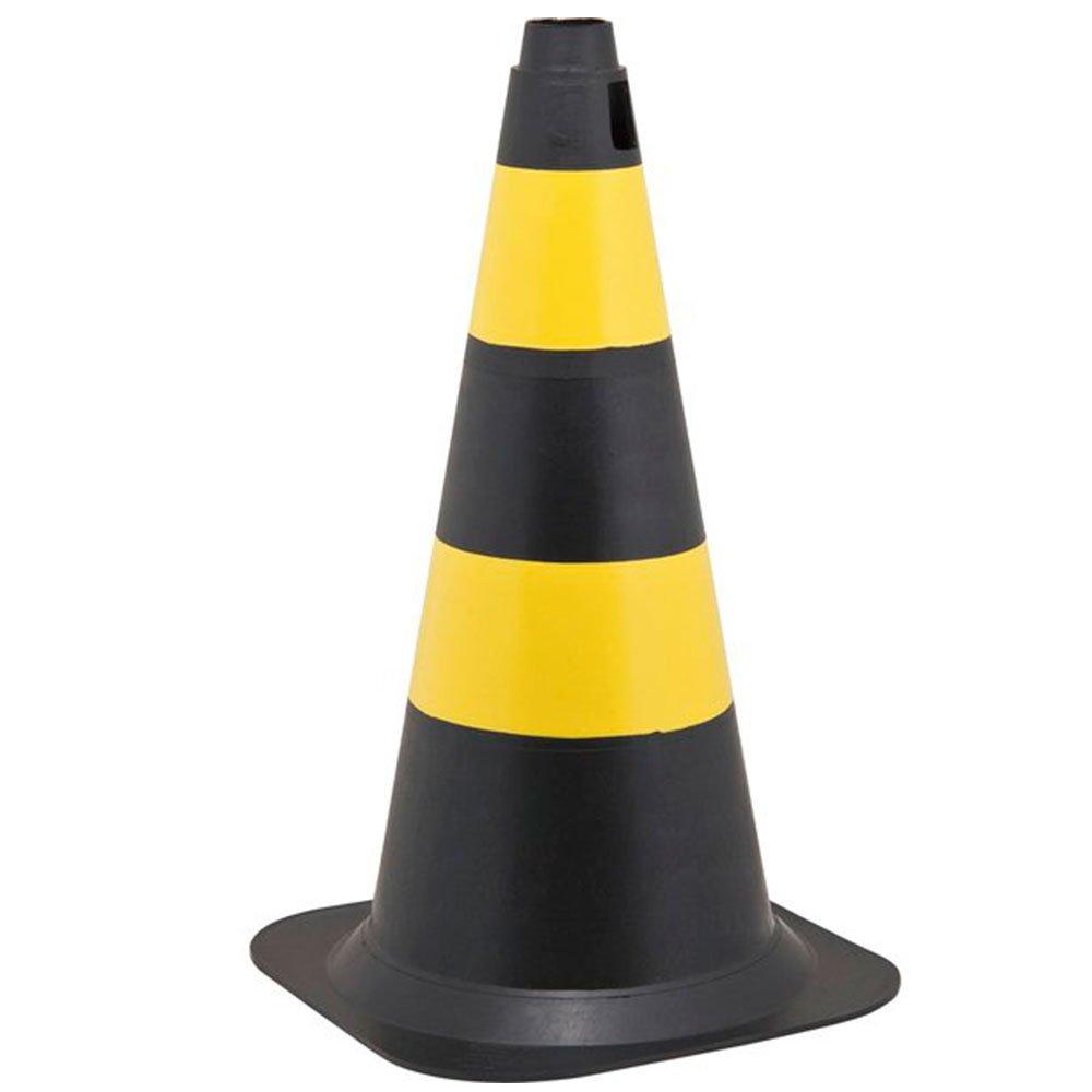 Cone de Sinalização 50cm Preto E Amarelo - Imagem zoom