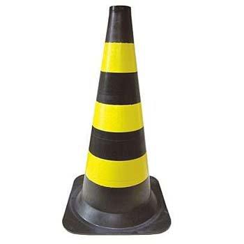 Cone sinalizador 75cm Preto E Amarelo - Imagem zoom