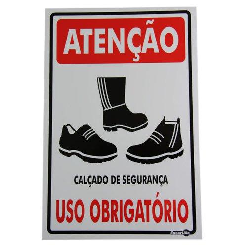 placa sinalizadora atenção calçado de segurança