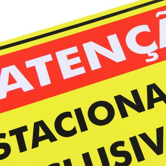 Placa Sinalizadora Atenção Estacionamento Exclusivo para Clientes da Loja - Imagem zoom