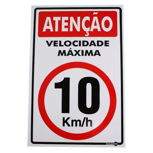 placa sinalizadora de atenção velocidade máxima 10 km/h