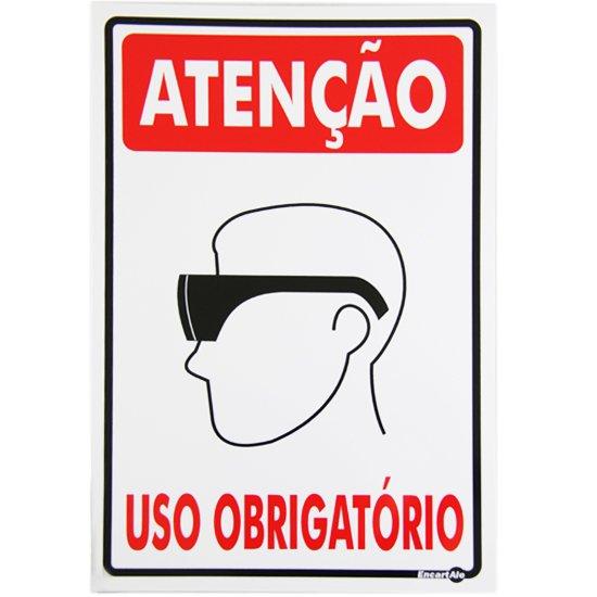 Placa Sinalizadora de Atenção Uso Obrigatório de Óculos de Proteção - Imagem zoom
