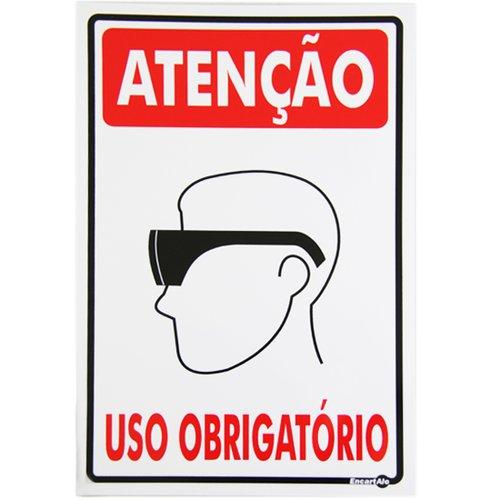 placa sinalizadora de atenção uso obrigatório de óculos de proteção