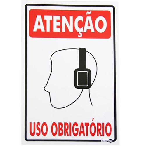 placa sinalizadora atenção uso obrigatório (protetor de ouvido)